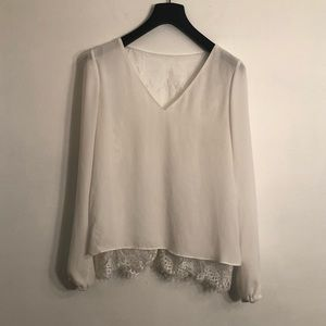 [Parker] White Lace Long Sleeve Blouse - Medium